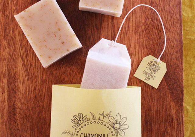 カモミールティー石鹸のラッピング